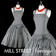 Vintage 1950s 50s Dress  Black White Gingham by millstreetvintage