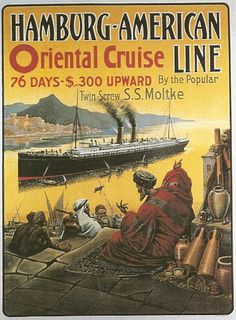 Lovely French Vintage Poster - Hamburg - American Oriental Cruise Line.