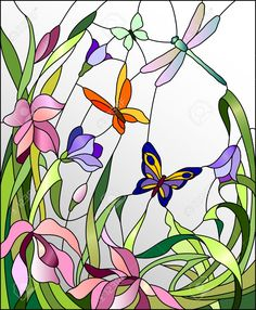 48768484-Stained-glass-window-with-flowers-and-butterflies-Stock-Vector-dragonfly.jpg (1072×1300)