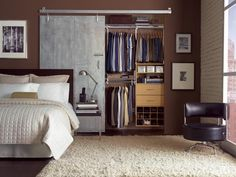 sliding door.  a to-do in a bedroom with a wide closet that doesn't have enough wall space next to it to slide the door out.  the open view of the rest of the closet could be hidden by a curtain.  or not.