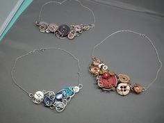 Vintage Button / Skeleton Key Necklaces by Gayle Bird Designs: love this designer's style