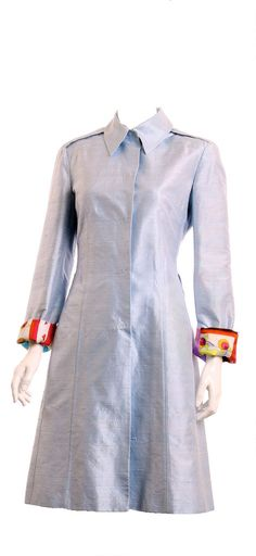 D&G DOLCE & GABBANA Silk Light Blue Trench Coat Size 28/42 New with Ta – London Couture