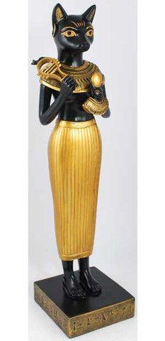 Shown here in her human form is the cat-headed Egyptian goddess Bastet. Bastet Goddess, Egyptian Cat Goddess, Egyptian Cats, Goddess Art, Ancient Egyptian Artifacts, Ancient Aliens, Ancient Art, Ancient History, Pyramids Egypt