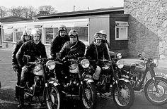 Triumph motorbikes and UK rockers Triumph Motorbikes, Triumph Motorcycles, Triumph Bonneville, Vintage Bikes, Vintage Motorcycles, Biker Leather, Leather Jacket, Old Bikes, Classic Bikes