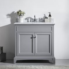 30 inch Gray Bathroom Vanity Set with White Carrera Marble Top & White Undermount Porcelain Sink, Assembled Solid Wood Bathroom Cabinet, Ready for Installation