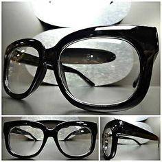 1dbb37e01d  Vintage 60 s retro nerd cool clear lens eye  glasses  thick black fashion  frame