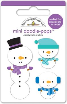 Doodlebug Design - Frosty Friends Collection - Christmas - Doodle-Pops - 3 Dimensional Cardstock Stickers - Frosty Fellows at Scrapbook.com