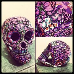 painted skull, fuschia floral, for sarah