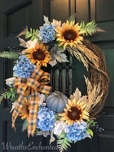 Fall Wreath Autumn Wreath Sunflower Rustic Wreath Thanksgiving Wreath Blue and Gold Wreath Front Door Wreath Housewarming Gold Wreath, Diy Fall Wreath, Autumn Wreaths, Holiday Wreaths, Wreath Crafts, Wreath Ideas, Decor Crafts, Blue Fall Decor, Autumn Theme