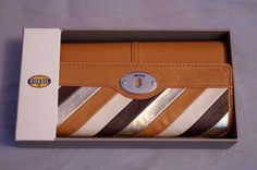 Fossil Womens Marlow Neutral Stripe Patchwork Leather Flap Wallet SL4981558 NWT #Fossil #Clutch