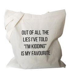 Funny tote Bag Canvas Tote Quote shopping bag by BlackTypographic                                                                                                                                                                                 More