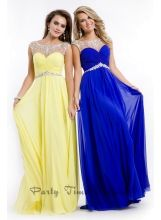 Party Time Formals style #6555 yellow/blue formal dress with beaded illusion neckline