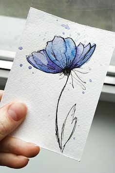 Using some watercolor create this wonderful flower🌸 Watercolor Paintings For Beginners, Watercolor Art Lessons, Pen And Watercolor, Watercolour Painting, Watercolor Flowers, Watercolors, Painting & Drawing, Watercolor Birthday Cards, Floral Drawing