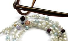 Pretty Faceted White and Pastel Pearl Beaded Eyeglass Necklace or Name Badge Lanyard by nonie615, $20.00