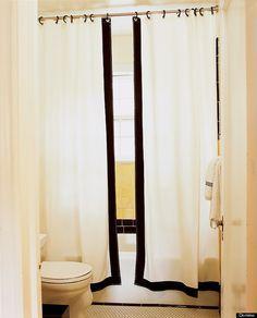 split shower curtains Bathroom Renos, Basement Bathroom, Small Bathroom, Bathroom Ideas, Bathroom Stuff, Master Bathroom, Bathroom Remodeling, Remodeling Ideas, Bathrooms