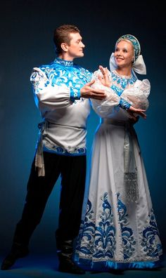 Russian costume. Russian dance.