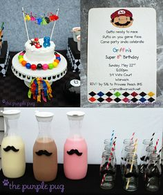 Mario Kart Mustache Mania Birthday Party - fun DIY ideas on decorations, table styling, food, favors and games for this Mario celebration! Super Mario Party, Super Mario Birthday, Mario Birthday Party, Boy Birthday Parties, Birthday Ideas, 8th Birthday, Mario Bros, Mario Kart, Mario Brothers