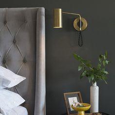 Bedside Wall Lights, Bedside Lighting, Modern Bedside Lamps, Brass Wall Lights, Bedroom Lighting, Bedroom Reading Lights, Reading Wall, Modern Bedroom Design, Design Room