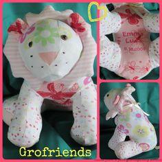 Babygro keepsake Lion, handmade in the UK by www.grofriends.co.uk #handmade #keepsake #baby
