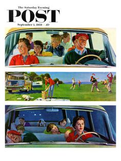 🌟Tante S!fr@ loves this📌🌟 love this one! Long Fun Day, art by John Falter. Detail from September 1959 Saturday Evening Post cover. Photo Vintage, Vintage Images, Vintage Posters, Norman Rockwell, The Saturdays, Nostalgia, Saturday Evening Post, Car Illustration, Old Ads