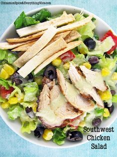 Southwestern Chicken Salad with Black Beans and Corn #Yummy #Veggies #Recipes