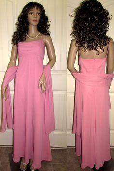 Dress Gown Formal Evening Prom Bridesmaid Mother Bride Party Long Scarf Mauve 10 #Michaelangelo #EmpireWaist #Formal