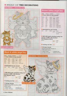 Angelic Cat tree decorations, plastic canvas, chart, page 3/4pr