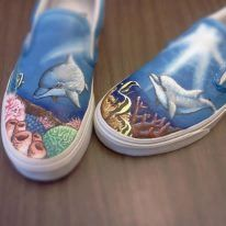Custom Vans Shark Sea Life Hand painted Shoes by geekedoutshoes, $124.99 Painted Vans, Hand Painted Shoes, Custom Vans, Custom Shoes, Dolphin Painting, Painting Shoes, Vanz, Marine Life, Dolphins