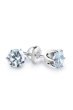 0.75ct Diamond and 14K White Gold 4-Prong Stud Earrings