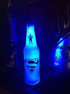 Superman Bottle Light Led  12 .OZ Beer Lager Ale Pub Bar Pool Neon Lamp Man Cave Sign Steady or Flashing