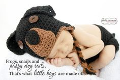 Crochet Rottweiler Puppy Dog Baby Hat and Diaper by gammyshouse, $32.00 my future grand babies will have this!