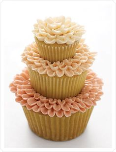 very cute tiered cupcake - uses Jumbo, Regular & Mini cupcakes.  I would probably use a skewer to hold together and a different icing design, but like the tiered idea.