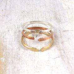 Set of 3 Simple Open Stacking Ring, Sterling Silver, Yellow Gold, Rose Gold- Thick Forged Ring
