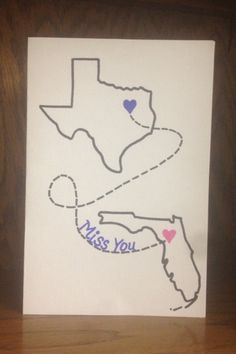 6x9 State to State Card, Long Distance Relationship, Going Away, Friends Forever, Birthday on Etsy, $5.99