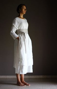 Items similar to Outfit - 3 pieces - Large Linen Dress DOR + Linen Tunic SANGA + Wrap Belt, Women Flax Linen Clothing, Medieval Festival Wear, Viking Tunic on Etsy Viking Tunic, Womens Linen Clothing, Gypsy Clothing, Obi Belt, Medieval Fashion, Renaissance Clothing, Older Women Fashion, Linen Tunic, Linen Dresses