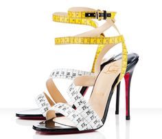 "$795 Christian Louboutin ""Police"" boutique exclusive stilettos. Tape. Measure. Stilettos. ARE YOU EFFING KIDDING ME? I could sell plasma for these, right? RIGHT? ~whimper~"