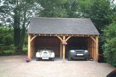 Mitre Oak is a family run business based in Worcestershire providing bespoke oak garden rooms, oak garages, oak garage kits. Carport Designs, Garage Design, Parking Plan, 2 Car Carport, Timber Garage, Car Shelter, Garage Atelier, Oak Framed Buildings, Oak Frame House