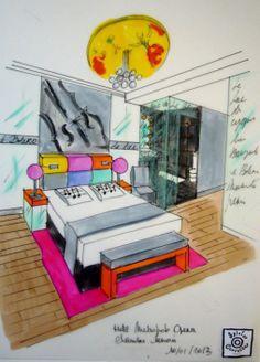 Dessin Sylvia Corrette projet pour le Lyric Hôtel. Paris.