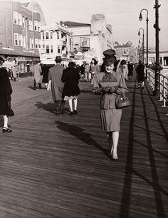 Woman dressed up on the boardwalk, 1940 | In Memoriam: The Atlantic City Boardwalk [Updated]