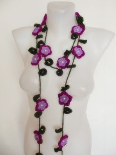 hand crochet flower lariat scarf necklace by sultanofcolours, $21.90