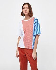 T-shirt com riscas (cru): ZARA (15,95€)