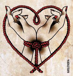 For the love of bondage Hand Tattoos, Up Tattoos, Future Tattoos, Tattoo Drawings, Body Art Tattoos, Rope Tattoo, Tatuaje Old School, Rope Art, Piercing Tattoo