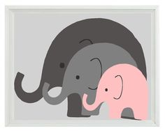 elephant nursery wall art - it would be cool to change the baby elephant to match the room theme. unless it's a girl, then the pink would be cute :P