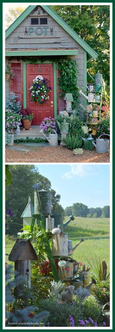 Plant a growing collection of watering cans on a ladder for a little whimsy in the garden! | homeiswheretheboatis.net #garden #pottingshed