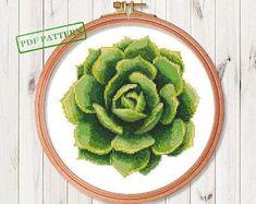Succulent Cross Stitch Pattern Flower Modern Cross Stitch Easy Cactus Cross Stitch Pattern PDF Instant Download #crossstitchpatterns
