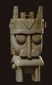 """Africa     Among the Kalabari Ijo peoples, who live in the delta area of the lower Niger River, important rituals honor and appease water spirits, who were believed responsible for ensuring the Ijo's food supply and their fertility. This mask represents one of these water spirits, otobo, """"hippopotamus."""" Collected ca. 1916."""