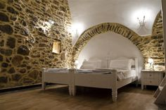 Lida Mary is located in Mesta, the most beautiful castle of Chios, with rooms at the best spot, unique and modern docoration and excellent service. Medieval Houses, Chios, Rooms For Rent, Toddler Bed, Couch, Rustic, Traditional, Greek Islands, Castles