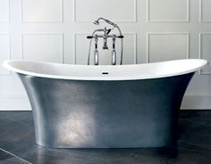 Toulouse bath in a pewter metallic finish from Victoria + Albert. www.vandabaths.com