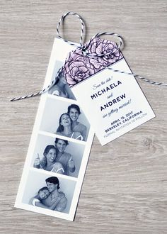 Browse unique wedding invitation ideas for modern brides | Photo Booth Save the Date Invites from @engagingpapers