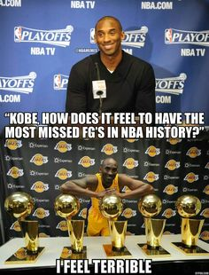 Kobe Bryant on having the most missed field goals in NBA history. Kobe Memes, Funny Nba Memes, Air Max 2009, Kobe Bryant Pictures, Nba Pictures, Nba Tv, Track Quotes, Kobe Bryant 24, Nike Quotes